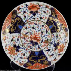 This wonderful early Crown Derby wide shallow dish is richly decorated with a hand painted imari Japan design and dates from 1800 to 1820 Wonderful colours!