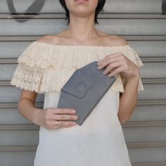 Gray leather wallet Gray leather clutch leather by TahelSadot