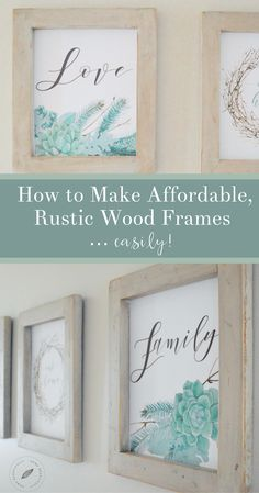 Spending extra money on frames? No thank you! Simple, rustic picture frames are so easy to make. And for printables, there's no need to fancy routing, glass, or hanging fixtures. In fact, all 3 frames cost less than $12 to make, using some supplies I had on hand.  Want to learn more about how to start this fun project?Keep on reading to discover how to make rustic, farmhouse style picture frames!