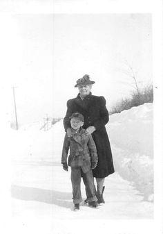 Photograph Snapshot Vintage Black and White Grandma Boy Winter Snow 1940'S | eBay