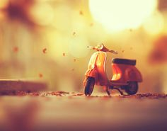 yellow Vespa automatic scooter die-cast, photographed of motor scooter miniature tilt shift Tilt Shift Photography, Photography Series, Cute Photography, Still Life Photography, Creative Photography, Whimsical Photography, Photography Wallpapers, Micro Photography, Autumn Photography