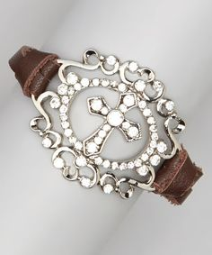 Love this Silver & Brown Cross Medallion Bracelet on #zulily! #zulilyfinds
