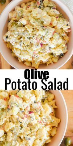 Olive Potato Salad is a delicious variation made with ripe olives a sweet and tangy dressing with eggs red onion dill and spicy garlic dill pickles making it a favorite side dish recipe for picnics and barbecues from Serena Bakes Simply From Scratch. Side Dish Recipes, Dinner Recipes, Barbecue Side Dishes, Picnic Side Dishes, Potato Salad With Egg, Chicken Potato Salad, Potato Salad Dill, Potato Side Dishes, Cooking Recipes