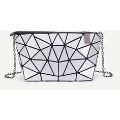 SheIn(sheinside) Geometric Pattern PU Chain Bag ($13) ❤ liked on Polyvore featuring bags, handbags, clutches, silver, chain purse, geometric purse, geometric handbag, pu purse and chain-strap handbags