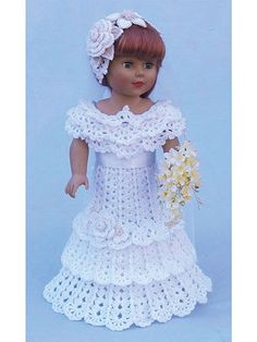 Crochet Dolls Designs Every little girl dreams of that special wedding day. Crochet a bridal party for your dolls. Pattern includes a beautiful bride's dress and bridesmaids' outfit. Designs are crocheted using baby- or sport-weight yarn. Crochet Wedding Dress Pattern, Crochet Wedding Dresses, Crochet Doll Dress, Crochet Doll Clothes, Wedding Dresses For Girls, Girl Doll Clothes, Girl Dolls, Ag Dolls, Barbie Clothes