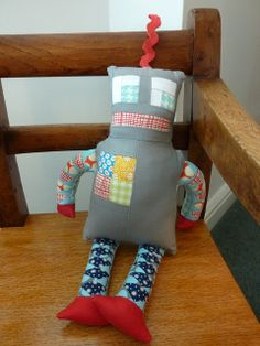 Geared up robot softie by angharad handmade, via Flickr