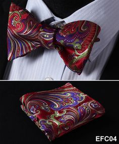 Red, Green, Purple Floral 100% Silk Butterfly Tie Self Tie Bow Tie Pocket Square Bow tie Set
