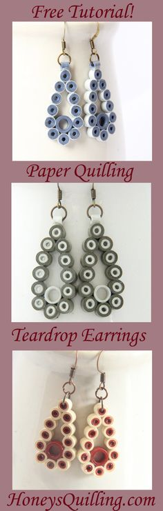 Learn how to make these paper quilling teadrop dot earrings with this free tutorial! Quiling Earings, Paper Quilling Earrings, Quilling Paper Craft, Paper Jewelry, Paper Beads, Wire Jewelry, Jewlery, Quilling Patterns, Quilling Designs