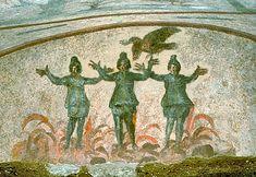Cautes, Mithra, Cautopates, burning alive in christian furnace. Le mithraïsme tint tête au christianisme jusqu'au 4ème siècle, époque à laquelle il se heurta aux persécutions de l'empereur Théodose (379 – 394), dont un édit, en 391, interdit le culte païen et les sacrifices sous peine de mort.Donnant lieu a de nombreux martyrs dans les cirques de Rome.