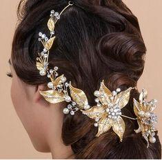 2017 New Trendy Magnifico Strass Nuziale Diademi di Cerimonia Nuziale di Modo Oro head band per Le Donne Crown capelli Accessori di Gioielli
