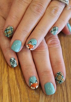 Foxy Fall gel polish mani with ASP Blue Crush. Fall Nail Art, Cute Nail Art, Cute Nails, Pretty Nails, Fox Nails, Thanksgiving Nail Art, Animal Nail Art, Girls Nails, Fall Nail Designs