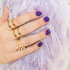 Rebel, rebel, mix up that purple mani with a flash (or two, or four) of hot pink!