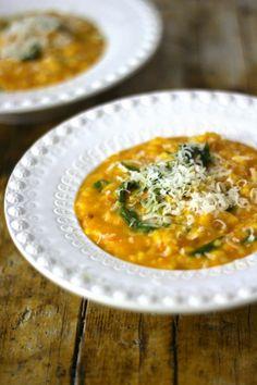 Pumpkin Risotto with Rucula - Receitas - Comidas Risotto Recipes, Rice Recipes, Beef Recipes, Vegetarian Recipes, Cooking Recipes, Healthy Recipes, Couscous Recipes, Pumpkin Risotto, Riced Veggies