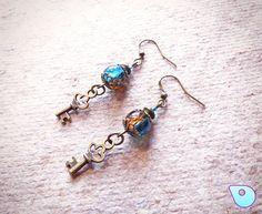 Key earrings, Bohemian Earrings, Steampunk jewelry, Key Jewelry, Bronze Earrings, Steampunk Earrings, Blue Earrings, Skeleton Key jewelry by CervelleDoiseau on Etsy