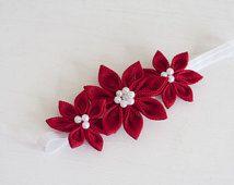 Red girl  headband - Bright Red girl headband - Flower girl kanzashi hair bow - Baby girl linen headband - Toddler girl hair  red band