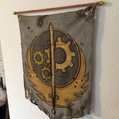 Handmade BoS banner by Etsy user Mothstradamus bos fallout fallout 3 brotherhood of steel bos flag fallout flag fallout banner