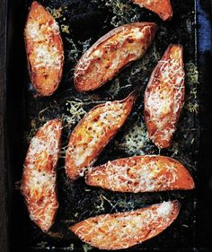 Cheesy Roasted Sweet Potatoes ~recipe from Real Simple.com ~ Cheesy Roasted Sweet Potatoes Look, Ma, no marshmallows! These sweet potatoes are topped with gooey cheese instead, creating a balanced blend of sweet and savory. Plus, they cook in less than 30 minutes.