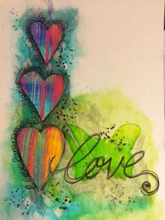 Perfect creation by Tracy Scott for the Simon Says Stamp Blog. love page for art journal.