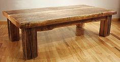 If this old barn wood coffee table were taller, wider, and longer, it would be perfect for a kitchen table.
