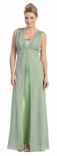 Long Sage Bridesmaid Dress With Rhinestones Plus Size Chiffon Straps $99.99