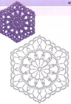 ideas crochet granny square pattern chart for 2019 Point Granny Au Crochet, Granny Square Crochet Pattern, Crochet Blocks, Crochet Squares, Hexagon Crochet, Crochet Doily Diagram, Crochet Motif Patterns, Crochet Chart, Crochet Doilies