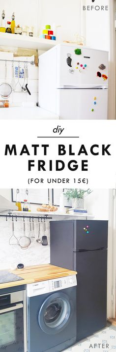 How To Paint A Fridge! Easy DIY makeover to turn a plain white fridge into a glamorous matt black fridge!