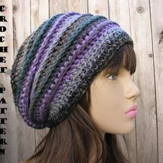 Crochet Hat Patterns For Beginners | ... Hat - Slouchy Hat, Crochet Pattern PDF,Easy, Great for Beginners