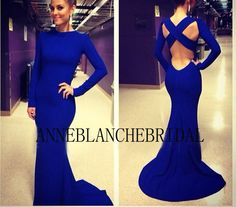 Royal blue long prom dress with long sleeves by anneblanchebridal