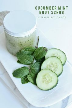Refreshing, Garden Fresh Cucumber Mint Body Scrub Recipe Cool Off with Refreshing, DIY Cucumber Mint Body Scrub after a day spent in the summer sun. Make this garden fresh homemade body scrub with just six natural ingredients! Best Body Scrub, Natural Body Scrub, Body Scrub Recipe, Sugar Scrub Recipe, Diy Body Scrub, Sugar Scrub Diy, Face Scrub Homemade, Diy Scrub, Sugar Scrubs