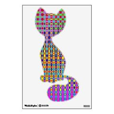 Psychedelia Cat Sitting Wall Decal