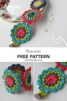 A beautiful bracelet made with crochet flowers in the most amazing colour combination by Carmen Heffernan! Crochet Bracelet Pattern, Crochet Jewelry Patterns, Crochet Flower Patterns, Crochet Accessories, Crochet Motif, Crochet Flowers, Crochet Hooks, Crochet Earrings, Crochet Jewellery