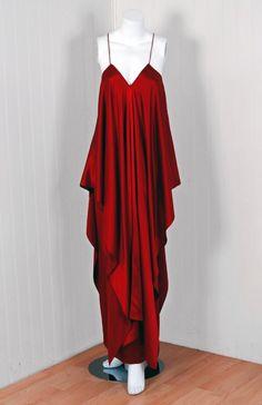 Yves Saint Laurent Haute Couture   1970's Yves Saint Laurent Grecian Haute-Couture Red Satin Dress image ...