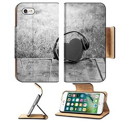 Luxlady Premium Apple iPhone 7 Flip Pu Leather Wallet Case iPhone7 IMAGE ID 34283955 Headphones with red heart love music vintage retro black and white >>> You can find out more details at the link of the image.