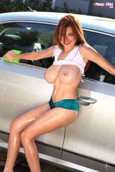 Hot girls big boobs washing cars