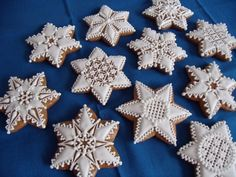 Fancy Cookies, Holiday Cookies, Cake Cookies, Sugar Cookies, Christmas Design, Winter Christmas, Czech Desserts, Sugar Cookie Frosting, Honey Cake