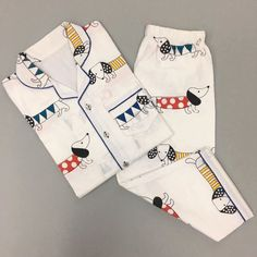 Add a dose of playful style to bedtime with this superfine breathable cotton notched collar top and puppy love pajama set featuring our loved signature print. Cute Pajama Sets, Cute Pajamas, Boys Pajamas, Pyjamas, Pjs, Summer Pajamas, Luxury Nightwear, Kids Nightwear, Cute Sleepwear