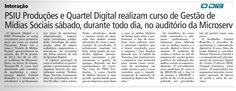 Matéria no Jornal O Dia sobre o Curso Gestão de Mídias Sociais com Gabriel Ramalho em Teresina.