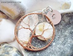 Wire tree of life pendant, with seashell