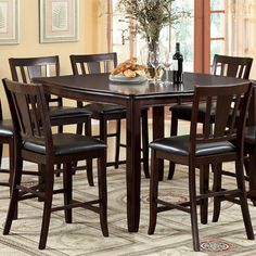Furniture Of America Edgewood II 9 Pcs Square Counter Ht. Table & Chairs Set CM3336PT