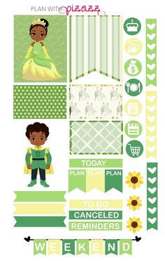 Disney The PRINCESS & the FROG Inspired Weekly theme sticker set Perfect for Erin Condren Life Planner