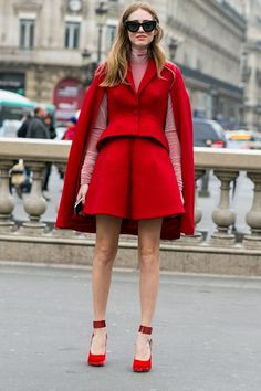 Brights In Street Style. Chiara in pink and red at Paris Fashion Week Fall 2015.