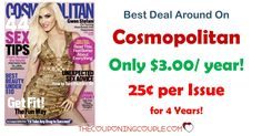 *RARE DEAL!*  Get Cosmopolitan Magazine for only $3.00/year! That is only $0.25 per issue! Awesome gift idea! Imagine getting a year subscription for less than the price of an issue at the grocery store!  Click the link below to get all of the details ► http://www.thecouponingcouple.com/cosmopolitan-magazine-only-4-50year/ #Coupons #Couponing #CouponCommunity  Visit us at http://www.thecouponingcouple.com for more great posts!