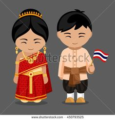 Thais in national dress with a flag. A man and a woman in traditional costume. Travel to Thailand. Welcome to Thailand. Vector flat illustration: compre este vector en Shutterstock y encuentre otras imágenes. Muay Thai Martial Arts, Thailand Flag, Boxing Posters, Costumes Around The World, Thinking Day, Color Psychology, Flat Illustration, Illustrations, Elements Of Art