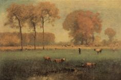 Summer Landscape by George Inness 1894 (American Barbizon school) Dark Landscape, Summer Landscape, Barbizon School, Hudson River School, Guache, Painting Lessons, Painting Tips, Tree Art, American Artists