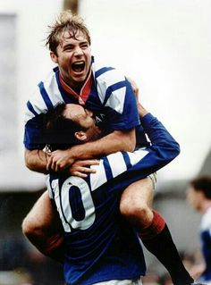 'Super Ally' Alistair Mcoist and Mark Hately celebrating after scoring for the mighty Glasgow Rangers Rangers Football, Football Icon, Rangers Fc, Football Shirts, Glasgow Girls, Football Fashion, Arsenal Fc, Great Team, Sports Stars