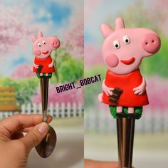teaspoon Peppa Pig, polymer clay fimo, exclusive handmade, exciting gift friend, contemporary art, lovely gift children, elements home décor by BrightBobcat on Etsy