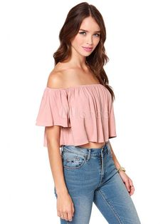 8b4000f14bb Salmon Chiffon Blouse Off The Shoulder Short Sleeve Pleated Top For Women  #Blouse, #