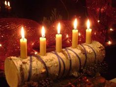 9 candle Yule log a rustic  candle holder by SmallThingsBeautiful, $24.50