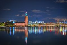 Stockholm City Hall, as seen from Söder Mälarstrand. Sweden  Find more photos like this at www.stockholmsfotografier.se