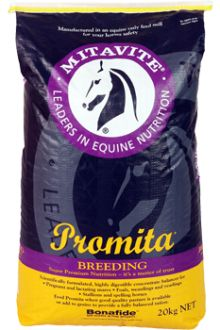 Promita® - Mitavite® Promita® is a concentrated feed balancer that provides high levels of quality, easily digested protein in a horse specific amino acid profile, vitamins, minerals and electrolytes. Promita® is an ideal additive to diets at critical growth periods in young stock, mares in the last 3-4 months of pregnancy and during lactation, horses recovering from injury or surgery, or when high quality pasture is available.